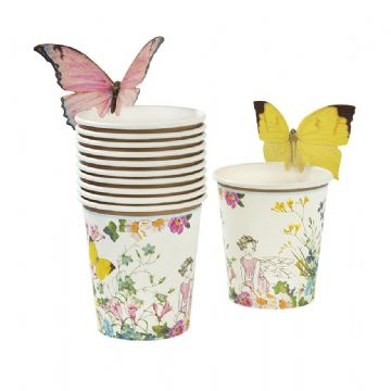 Truly Fairy Party Paper Cups with Pretty Butterfly Toppers - pack of 12